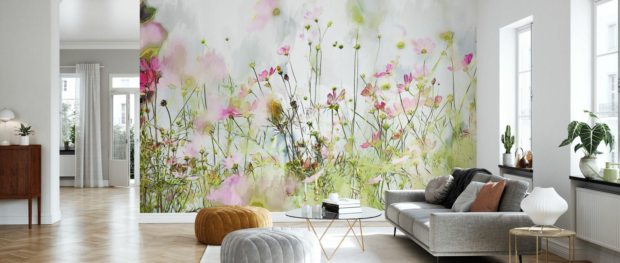 Painting of Cosmos Flower II - Wallpaper - Living Room