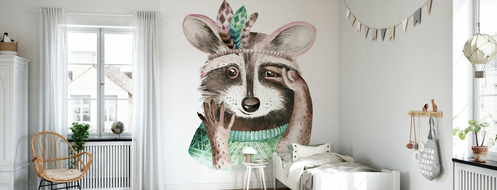 Raccoon with Feathers - Wallpaper - Kids Room