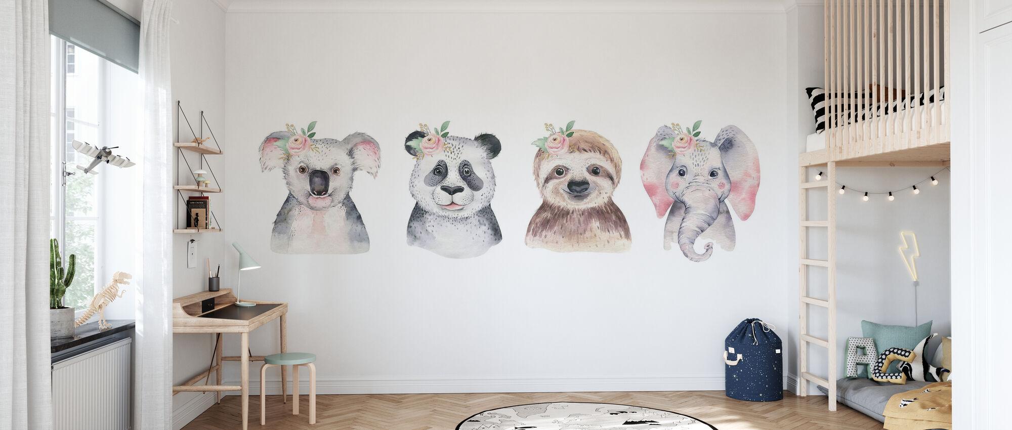 Baby Tiere - Tapete - Kinderzimmer