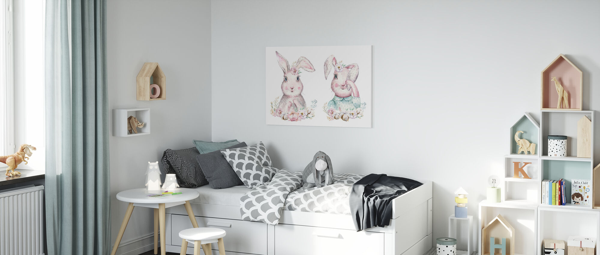 Bunnies with Flowers - Canvas print - Kids Room