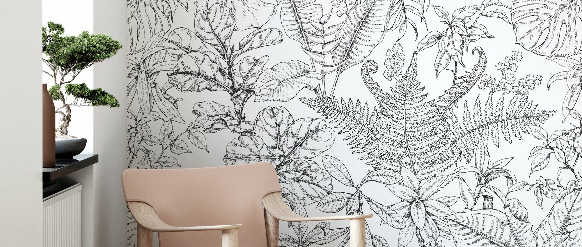Tropical Plants Pattern - Wallpaper - Living Room