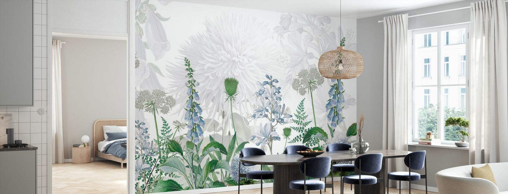 Foxglove Flowers - Blue - Wallpaper - Kitchen