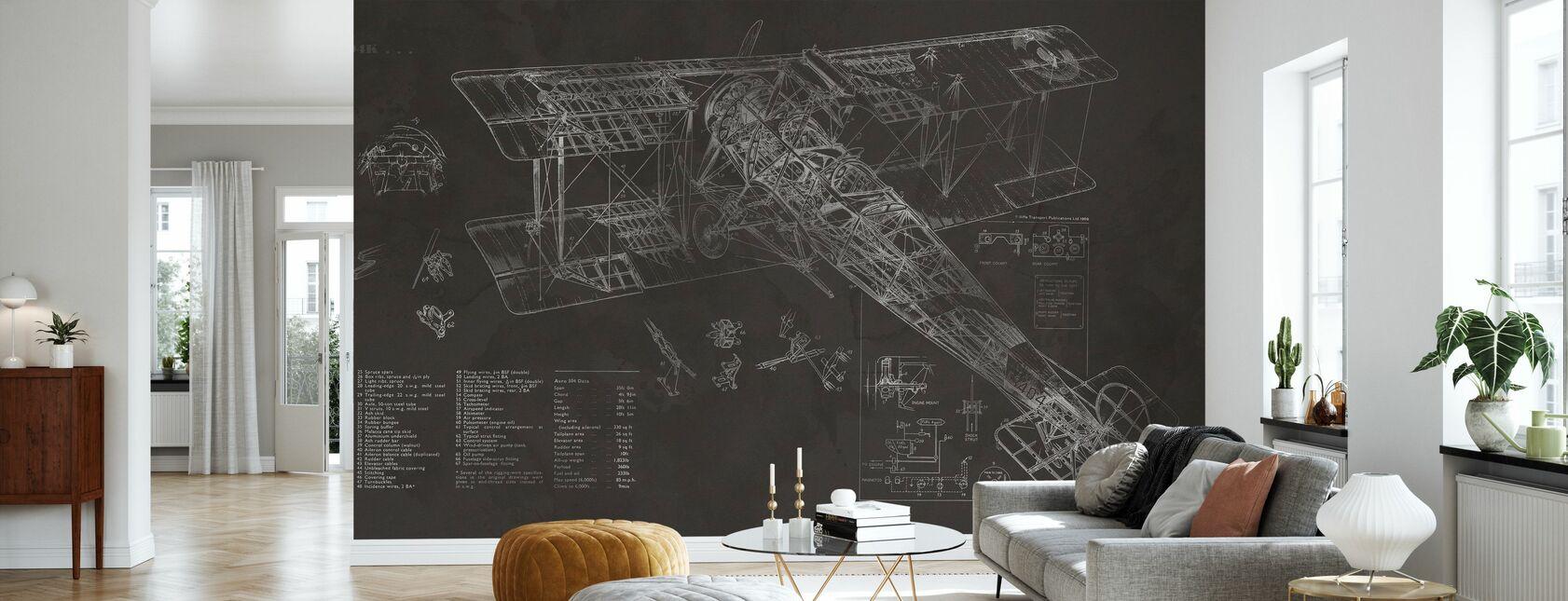 Avro 504K Avion - Noir - Papier peint - Salle à manger