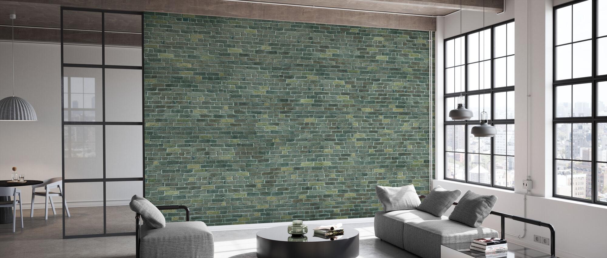 Green Brick Wall - Wallpaper - Office