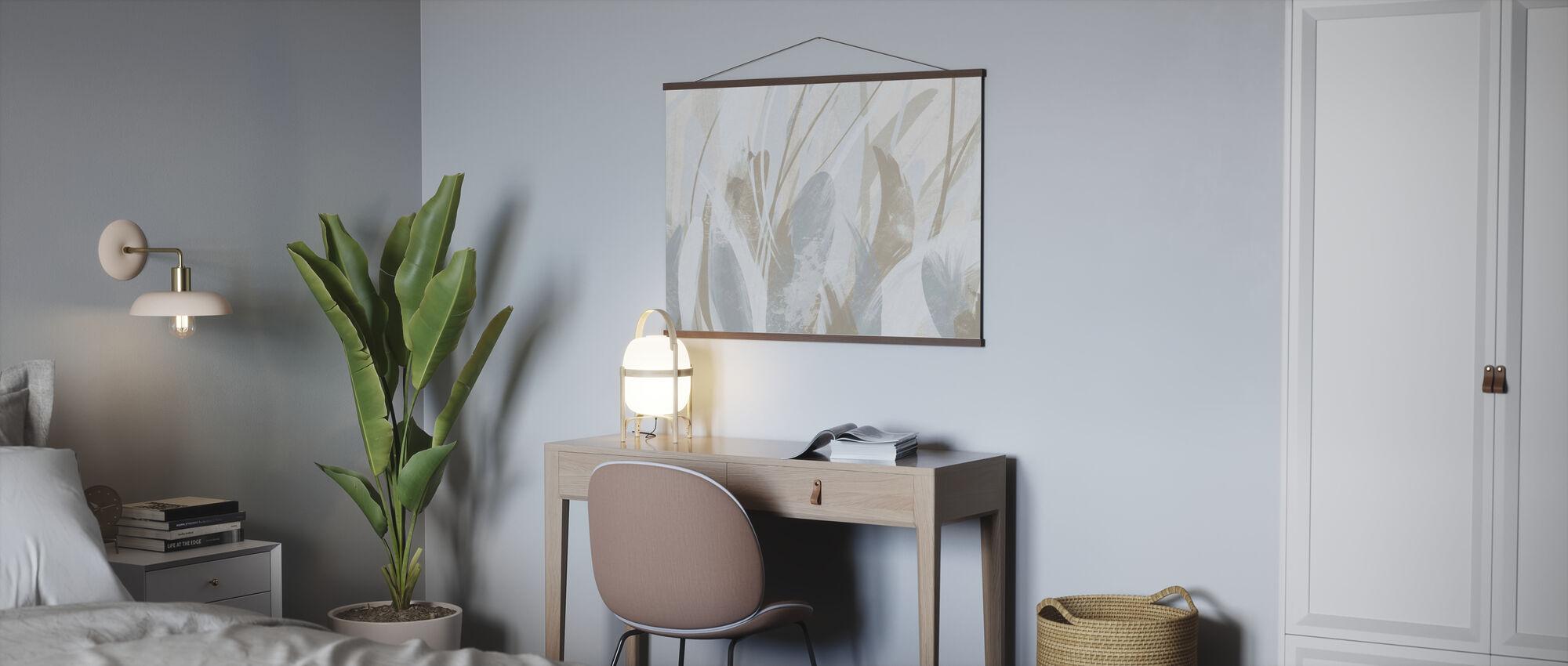 Abstract Veren - Zacht Blauw Bruin - Poster - Kantoor