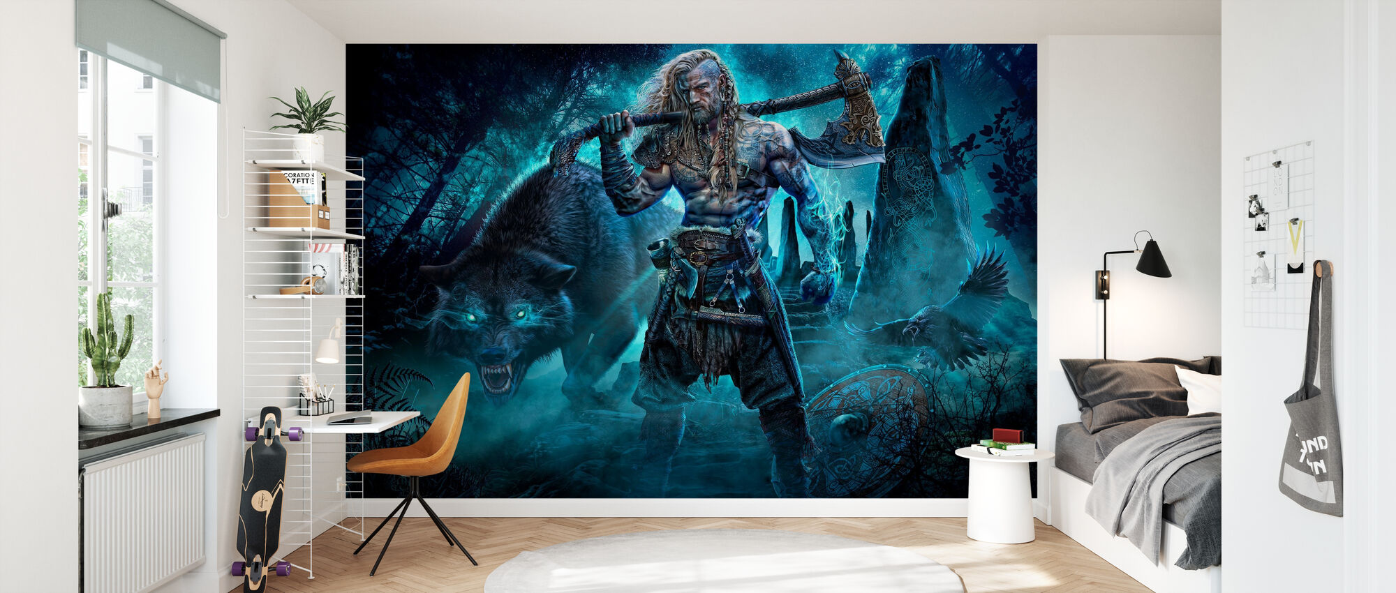 Viking and Wolf - Wallpaper - Kids Room