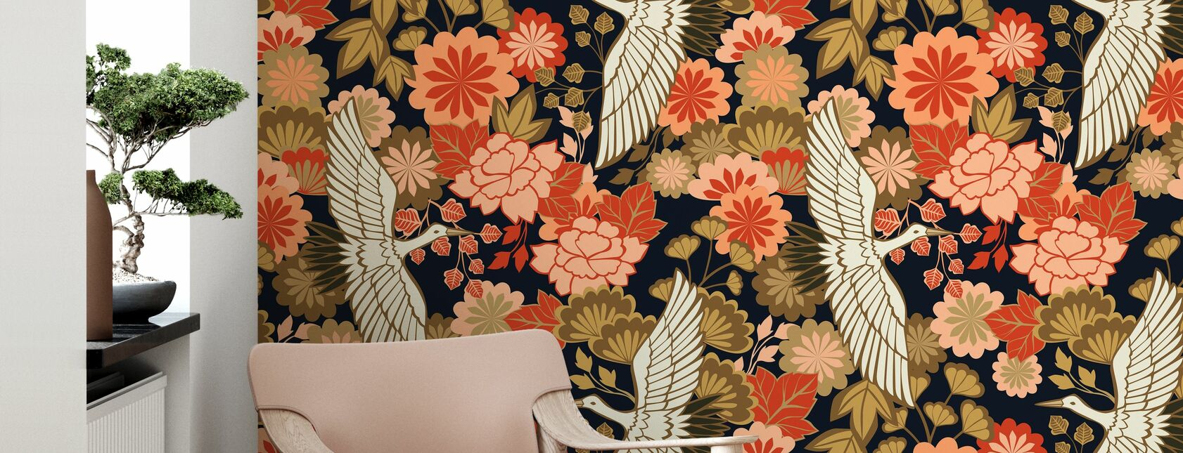 Cranes and Chrysanthemums - Black - Wallpaper - Living Room