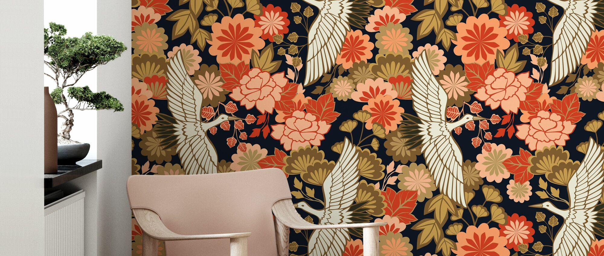Cranes and Chrysanthemums - Black - Wallpaper - Living Room