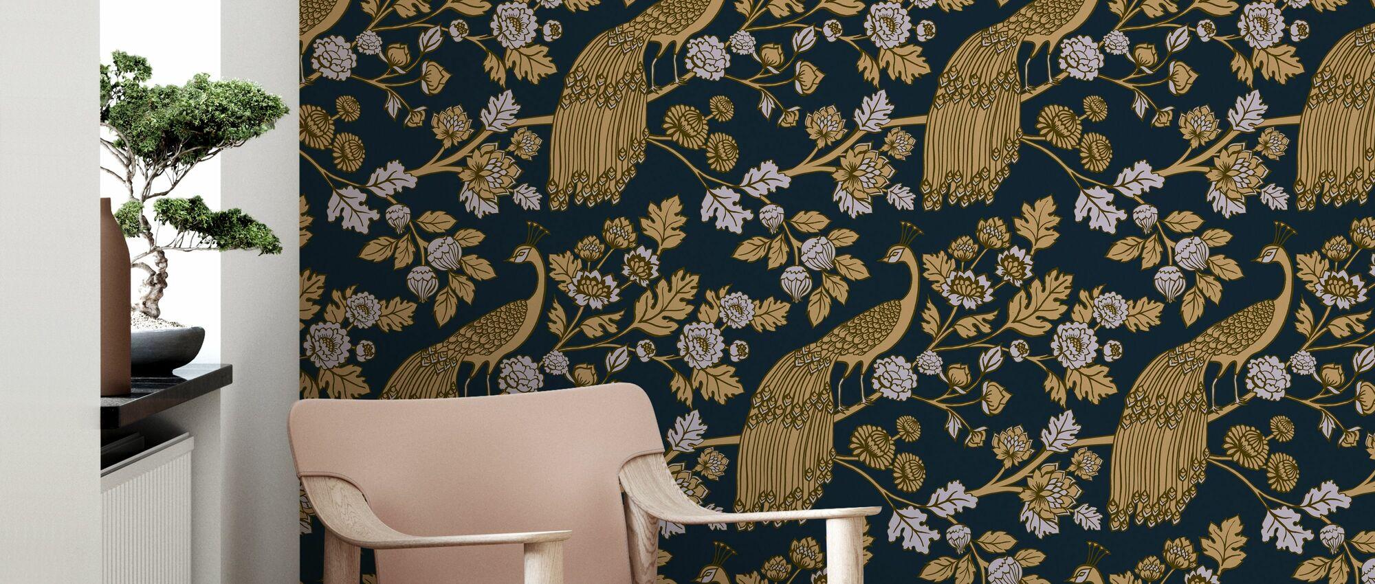 Peacock Garden Midnight - Gold - Wallpaper - Living Room