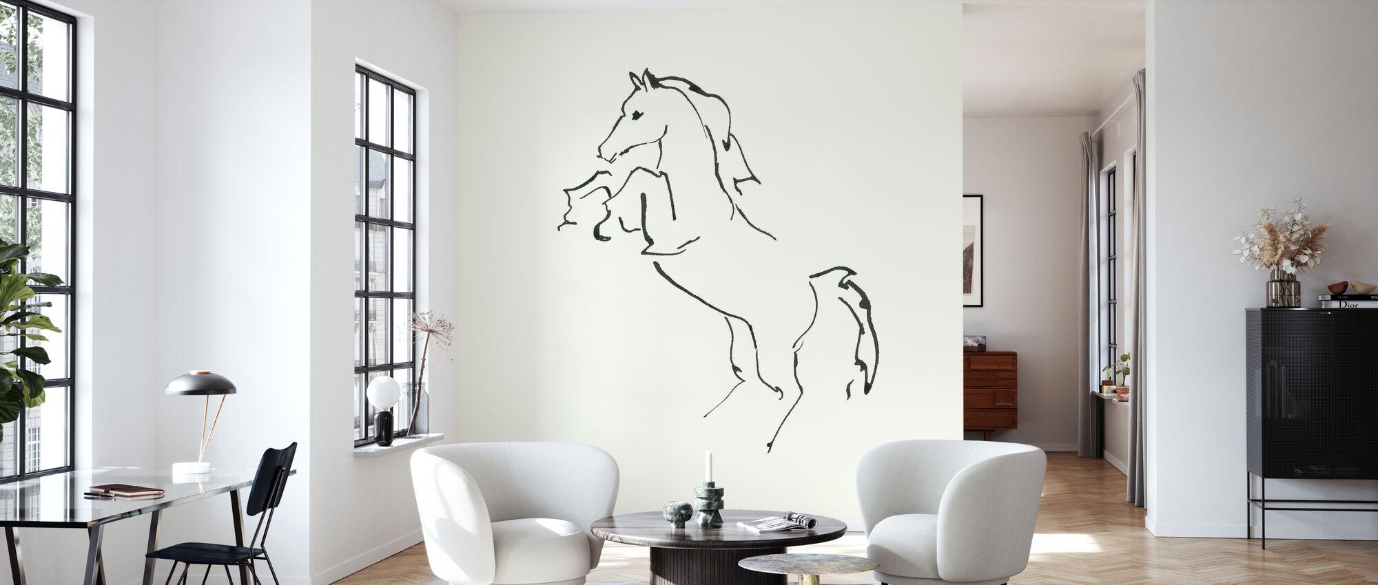 Line Horse IV - Wallpaper - Living Room