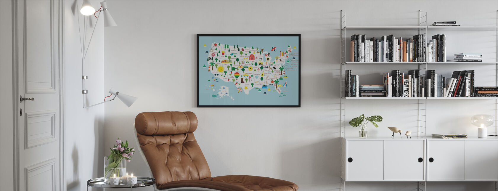 Fun USA Kartta - Juliste - Olohuone