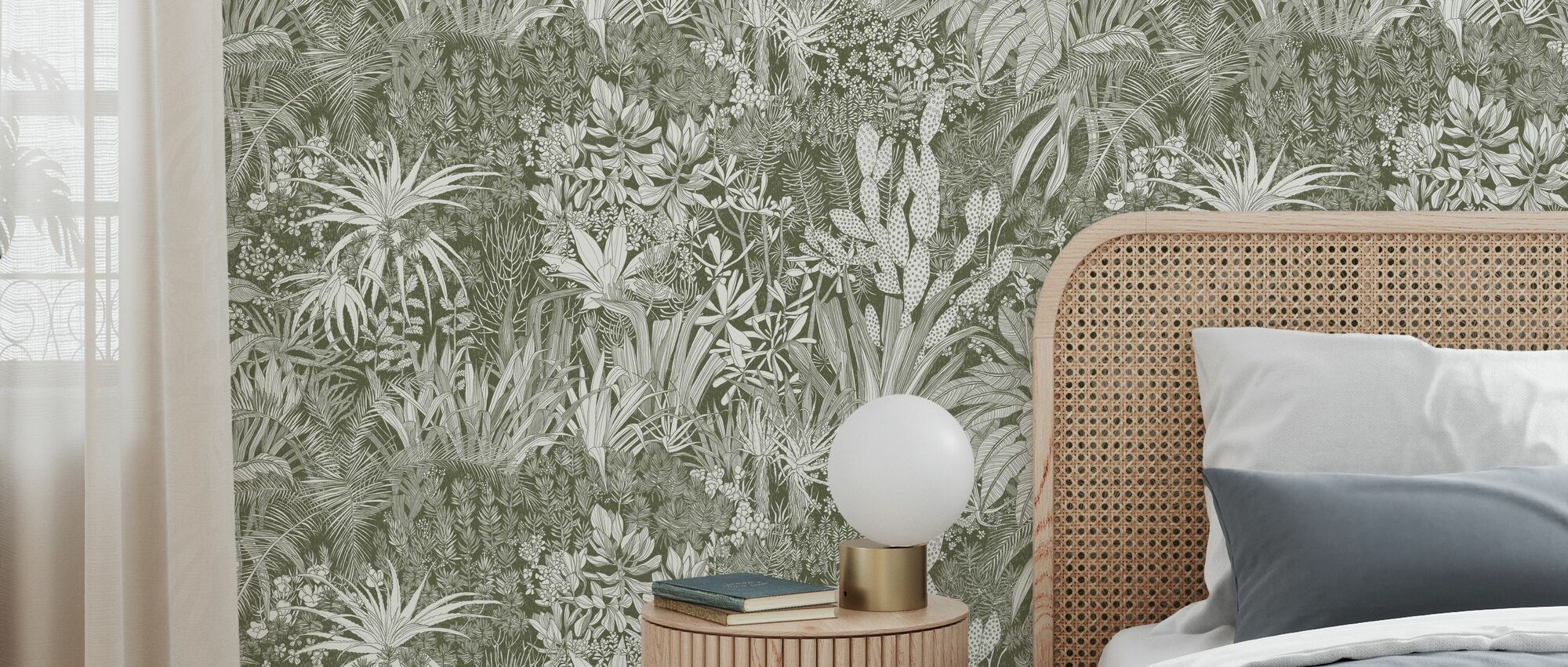 Highveld Garden- Olive - Wallpaper - Bedroom
