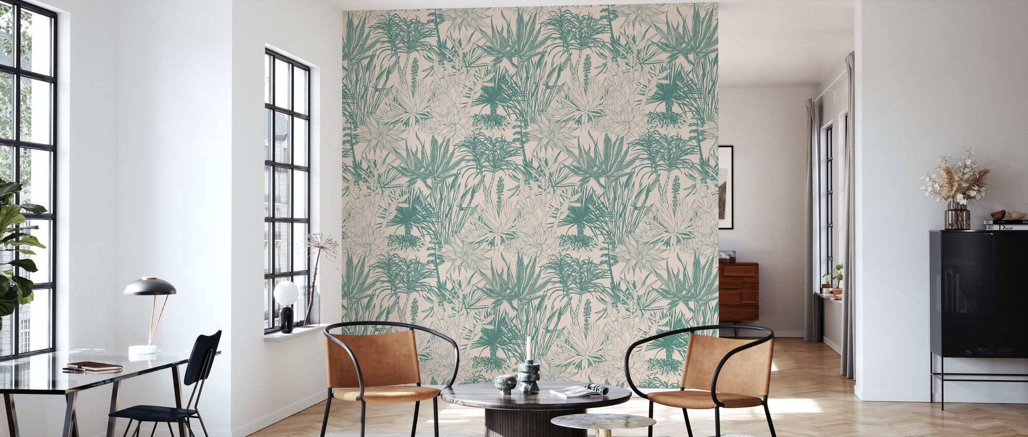 Succulents - Teal on Pink - Wallpaper - Living Room