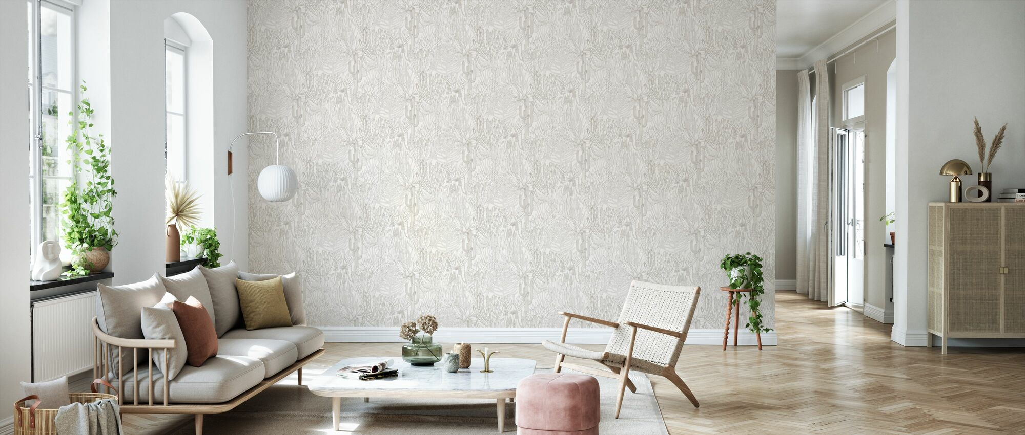 Euphorbia Forest - Bone - Wallpaper - Living Room