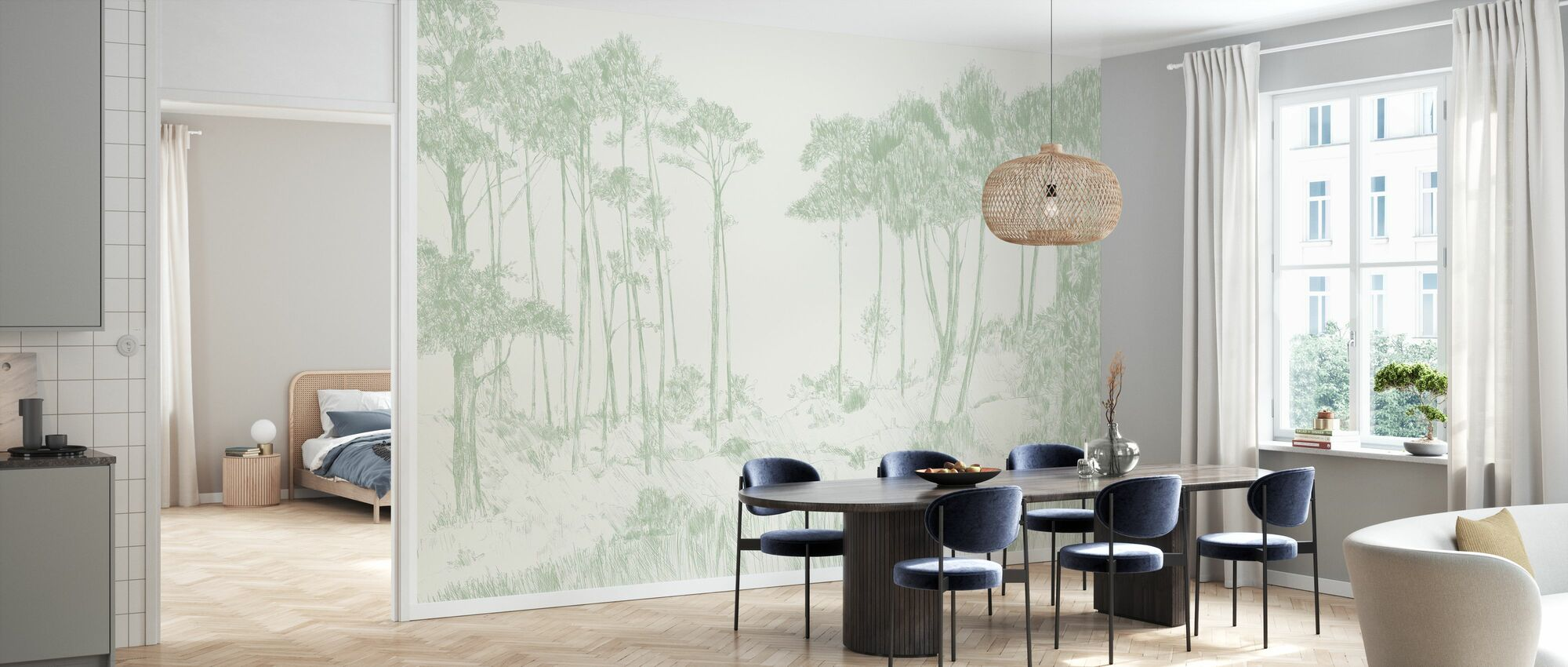 Signal Hill - Sage - Wallpaper - Kitchen