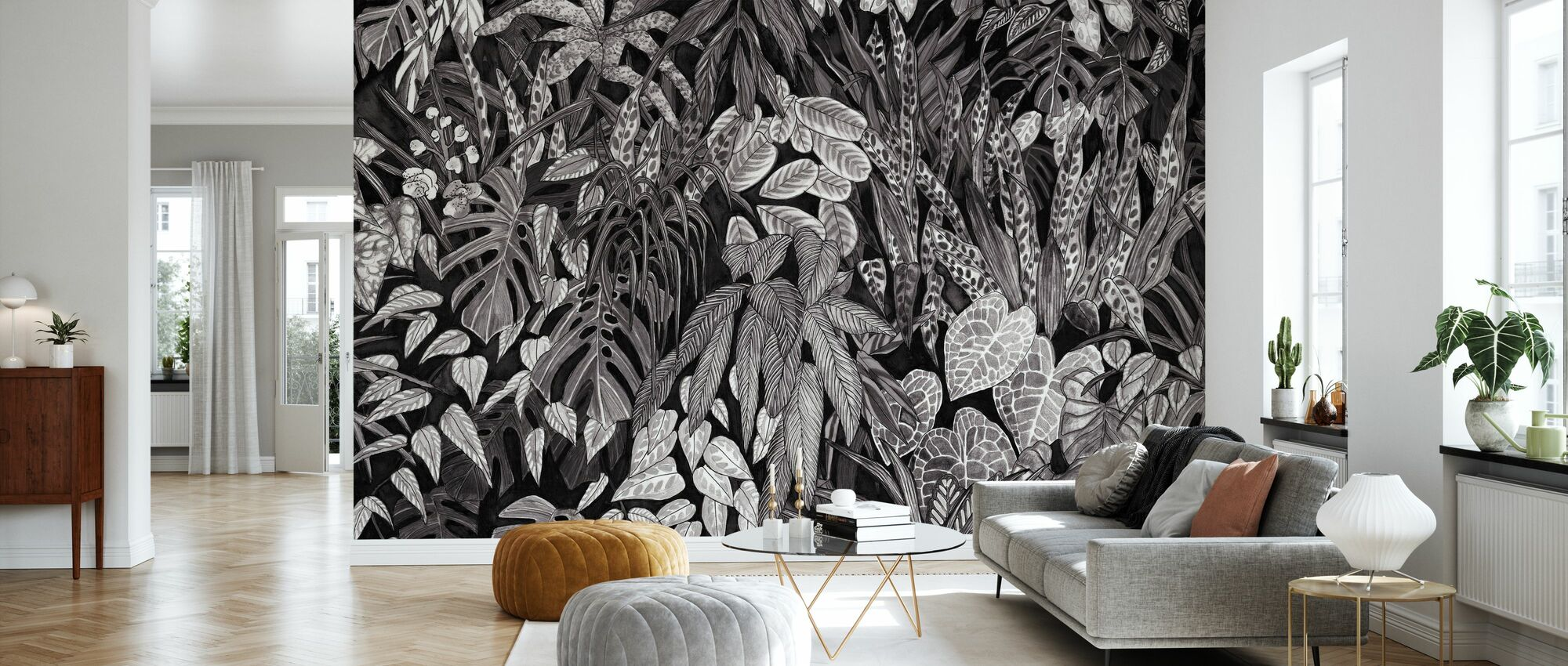 Tanglewood Forest Wall - Black - Wallpaper - Living Room