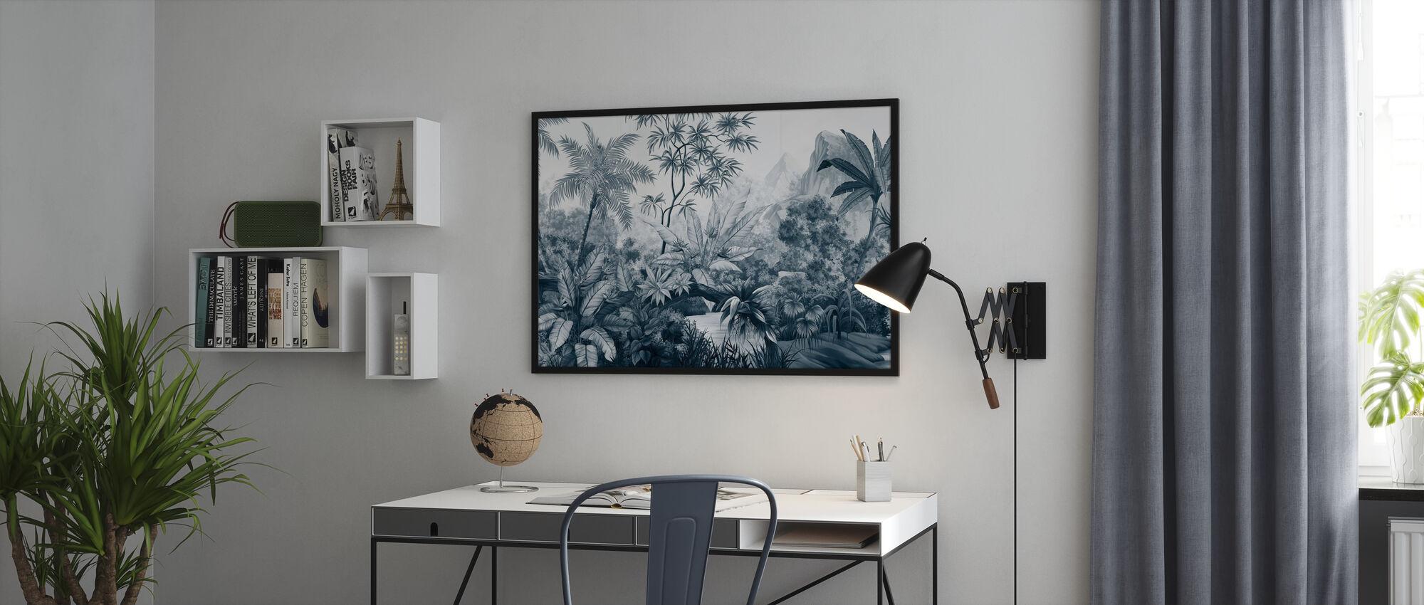 Tangled Jungle - Dark Blue - Framed print - Office