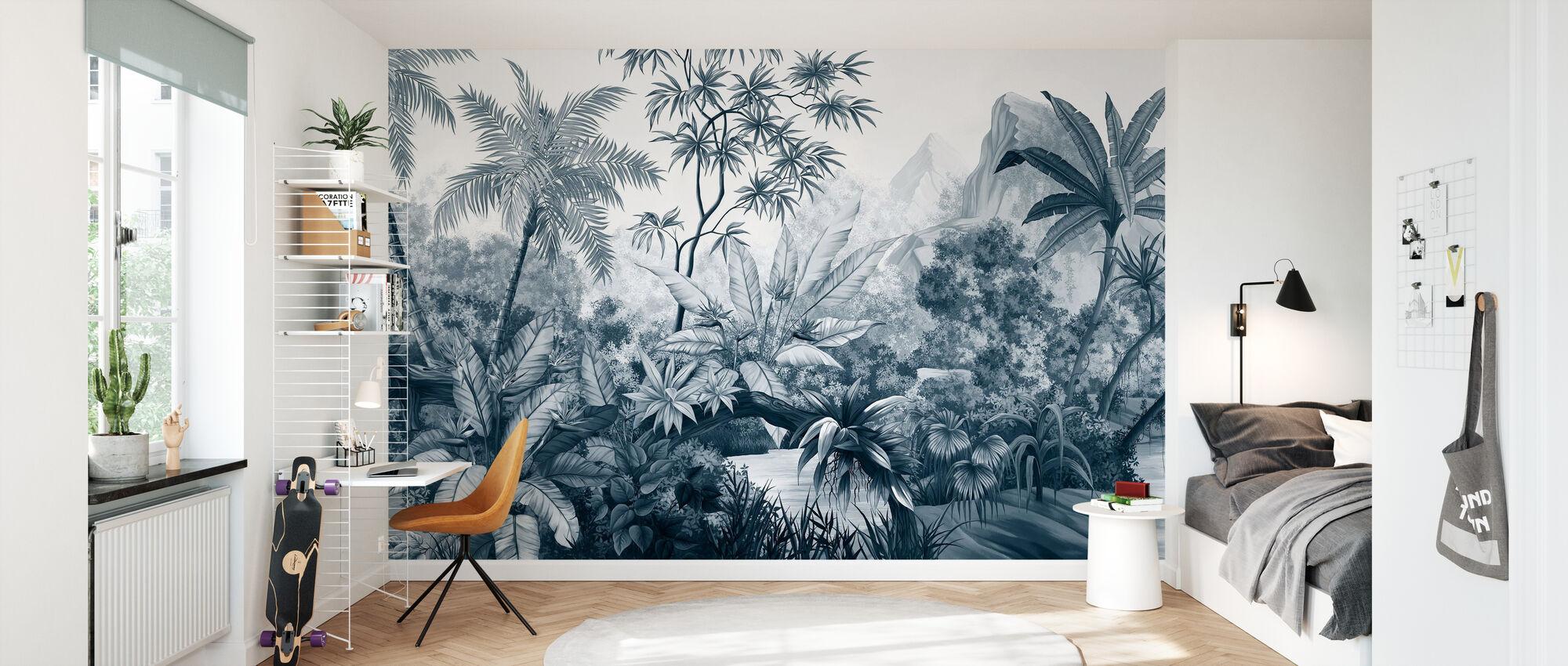 Tangled Jungle - Donker Blauw - Behang - Kinderkamer