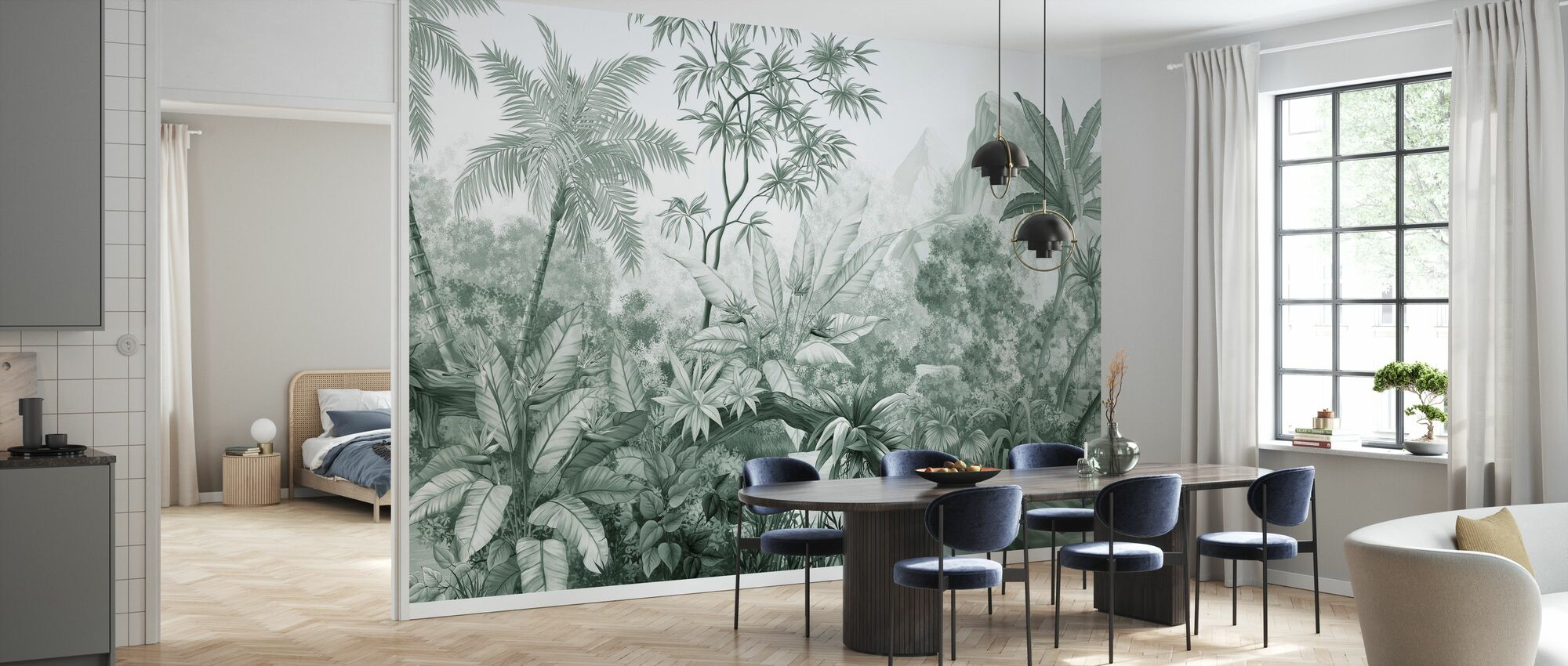 Tangled Jungle - Green - Wallpaper - Kitchen