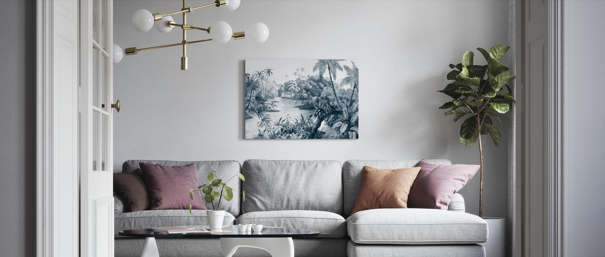 Tangled Jungle II - Blue - Canvas print - Living Room