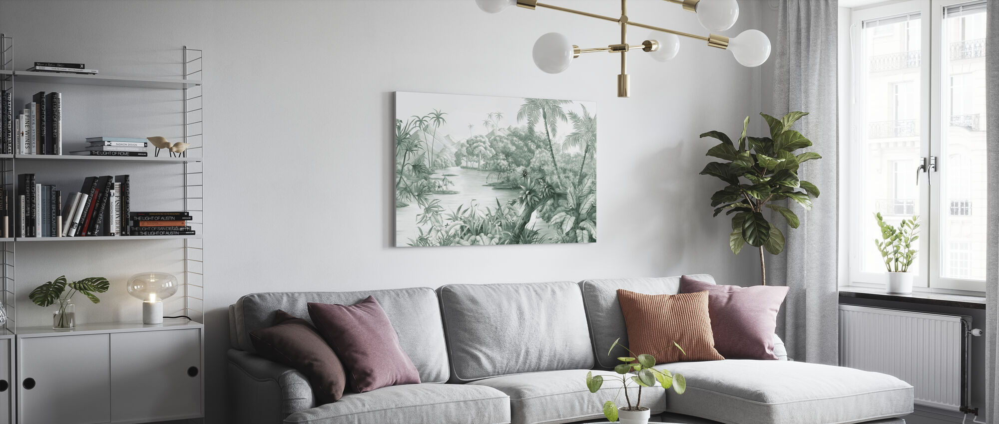 Tangled Jungle II - Green - Canvas print - Living Room