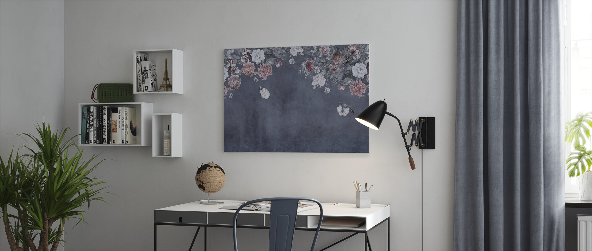 Vintage Flower Wall - Blue - Canvas print - Office
