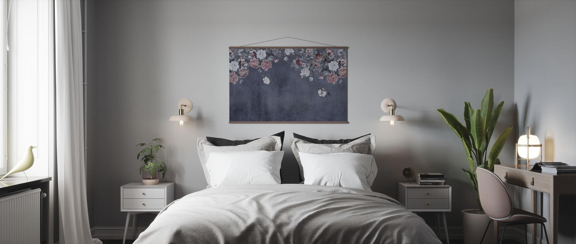 Mur Fleur Vintage - Bleu - Affiche - Chambre