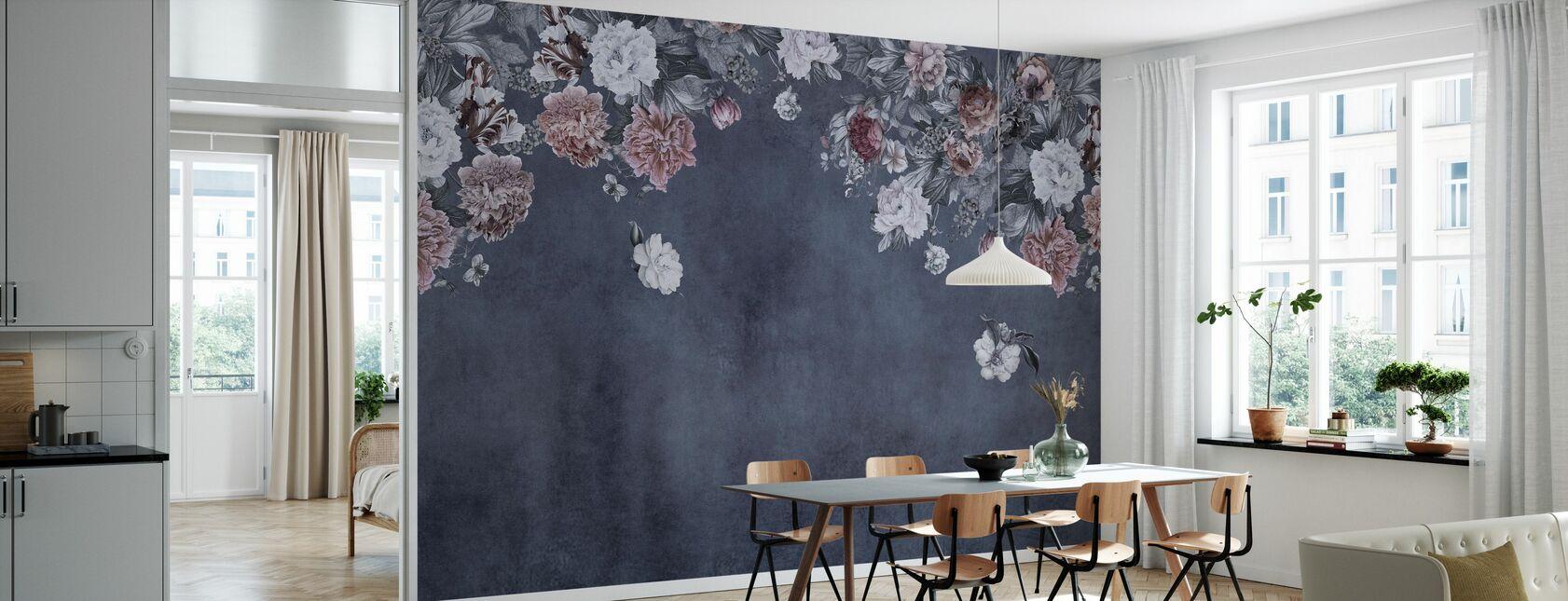 Vintage Flower Wall - Blue - Wallpaper - Kitchen