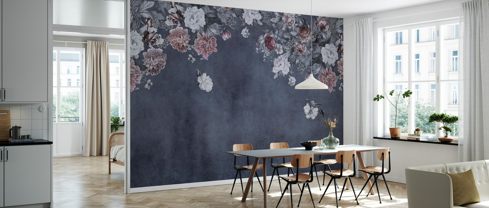 Vintage Blumen-Wand - Blau - Tapete - Küchen