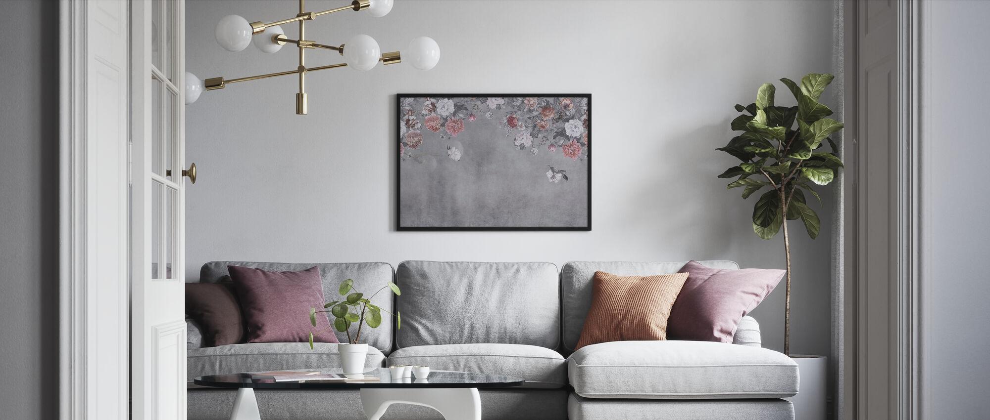 Vintage blomst væg - grå - Plakat - Stue