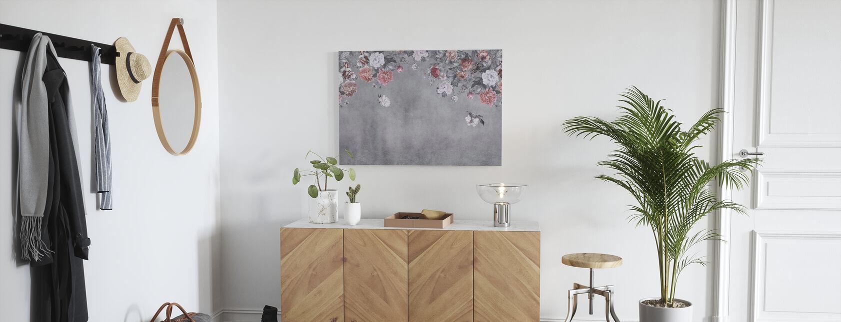 Vintage Blumen-Wand - Grau - Leinwandbild - Flur