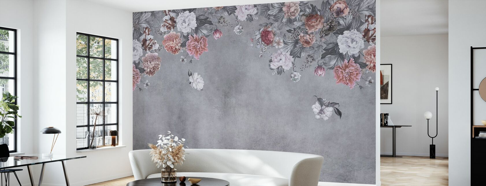 Vintage Flower Wall - Grey - Wallpaper - Living Room