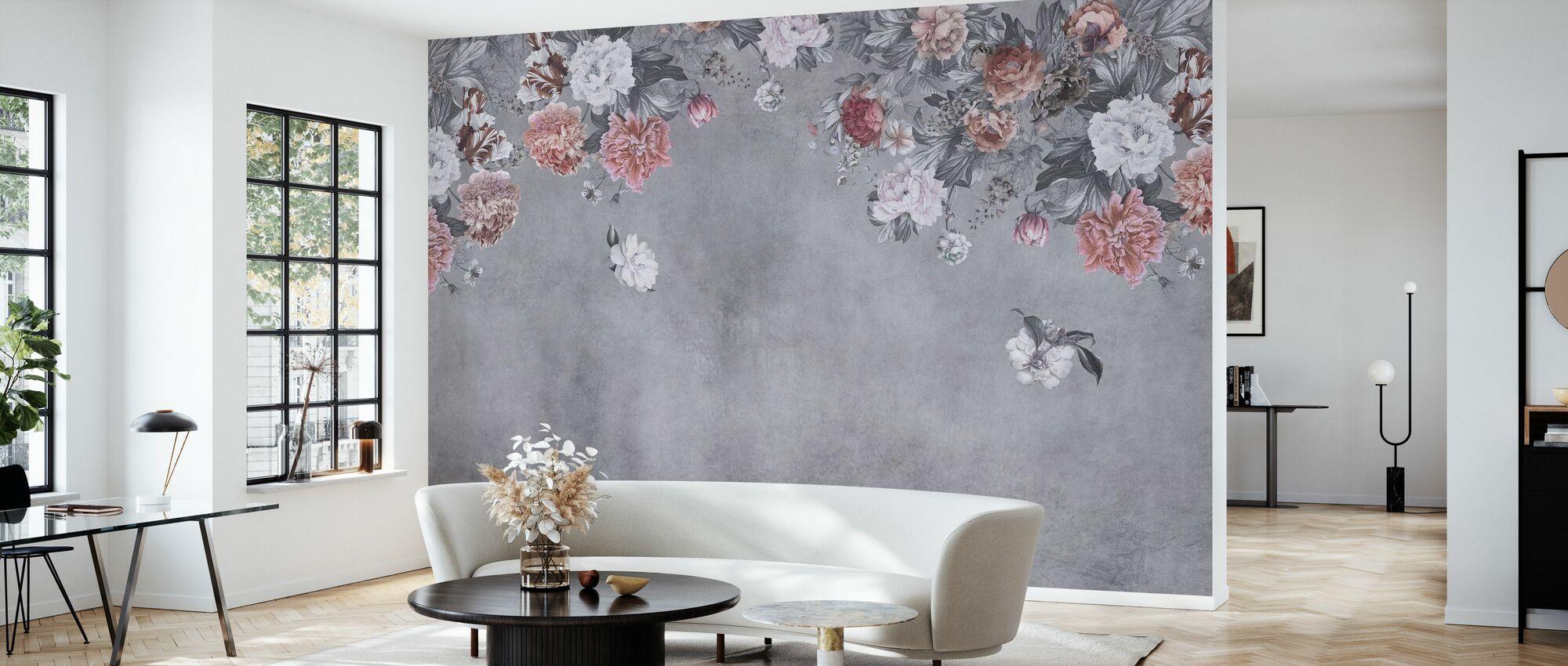 Vintage Bloemenmuur - Grijs - Behang - Woonkamer
