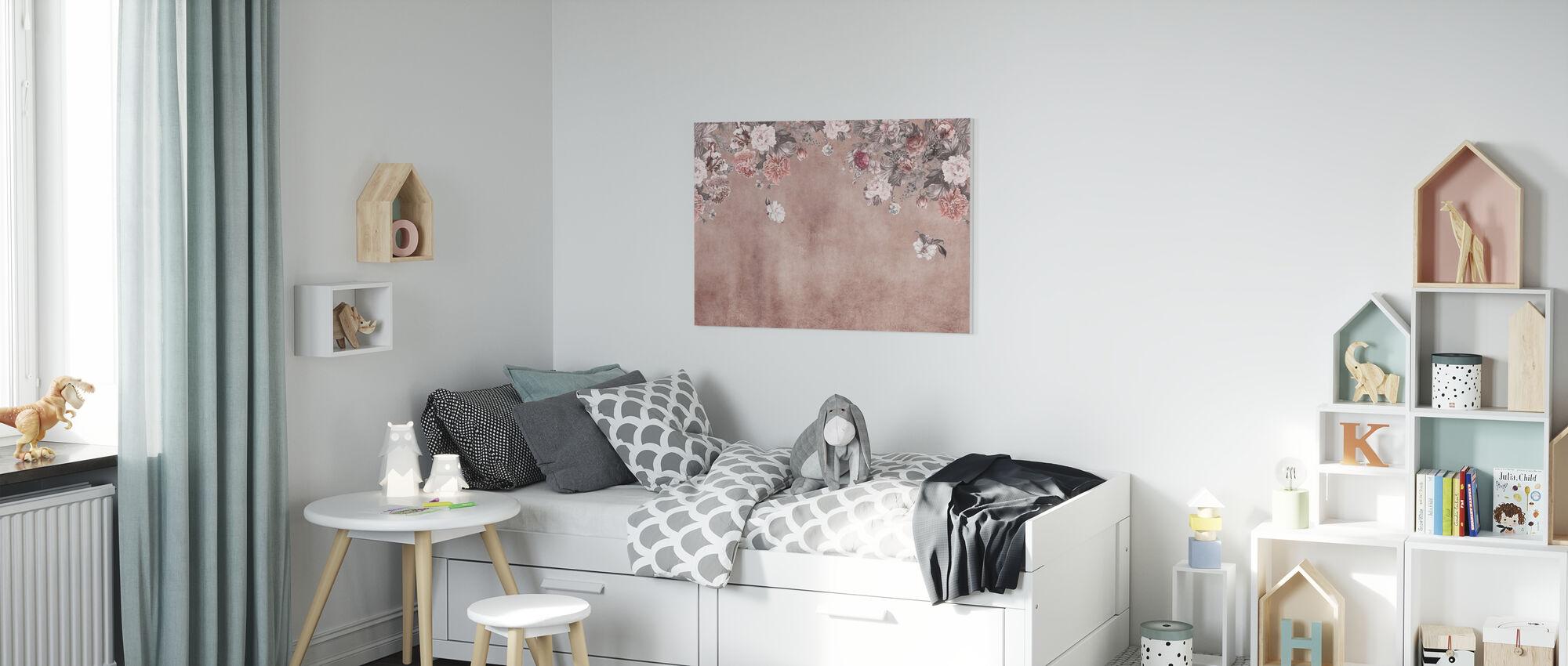 Vintage Flower Wall - Pink - Canvas print - Kids Room