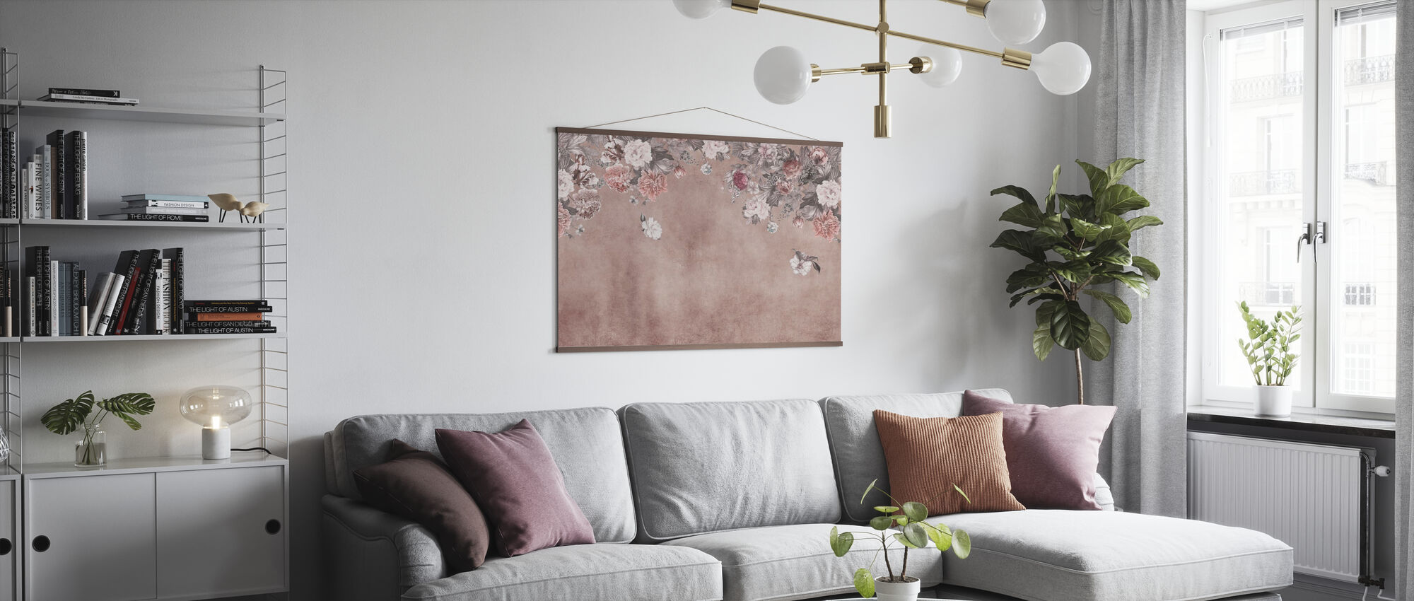 Vintage Flower Wall - Pink - Poster - Living Room
