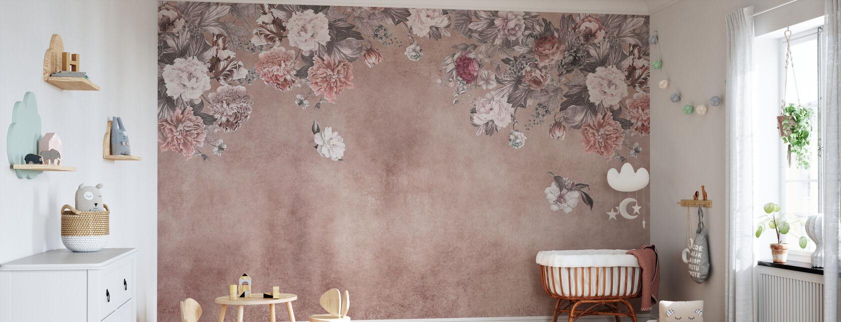 Vintage Blumenwand - Rosa - Tapete - Babyzimmer