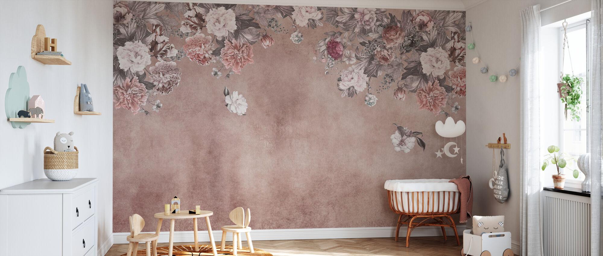Vintage blomst vegg - rosa - Tapet - Babyrom