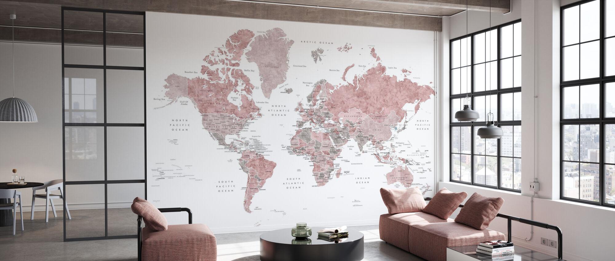 Weltkarte mit Hauptstädten - Tapete - Büro