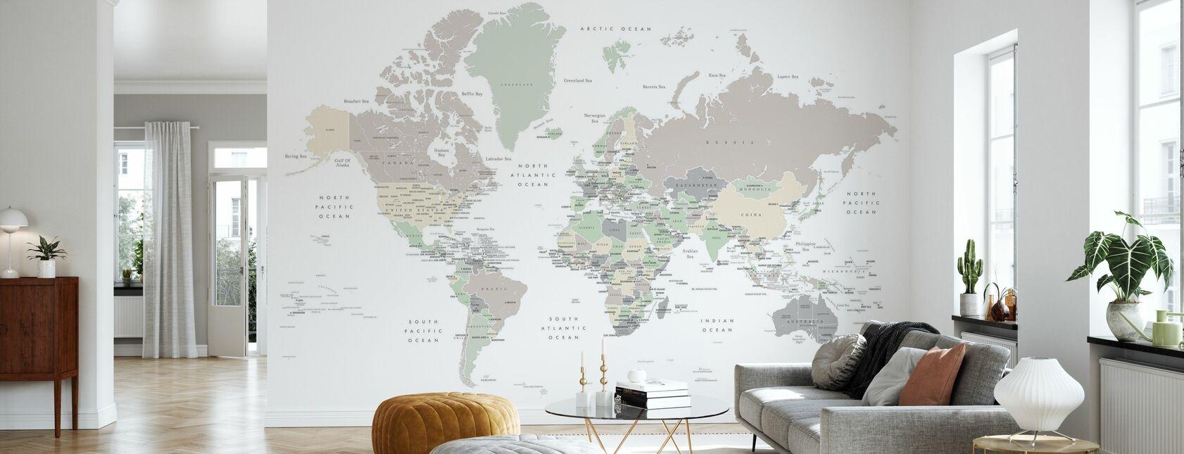 Verdenskort med hovedstæder - Tapet - Stue