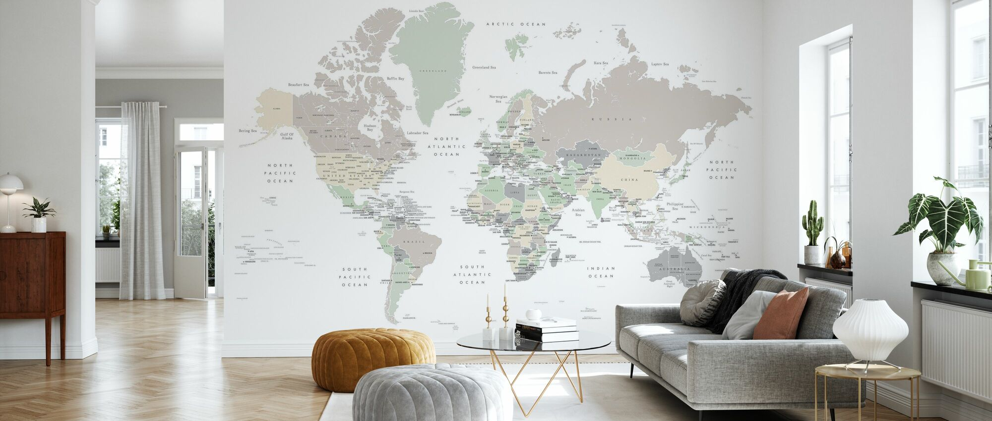 World Map with Capitals - Wallpaper - Living Room
