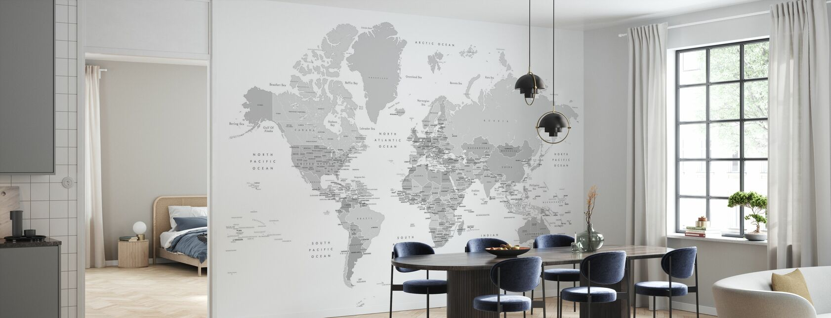World Map with Capitals - Wallpaper - Kitchen