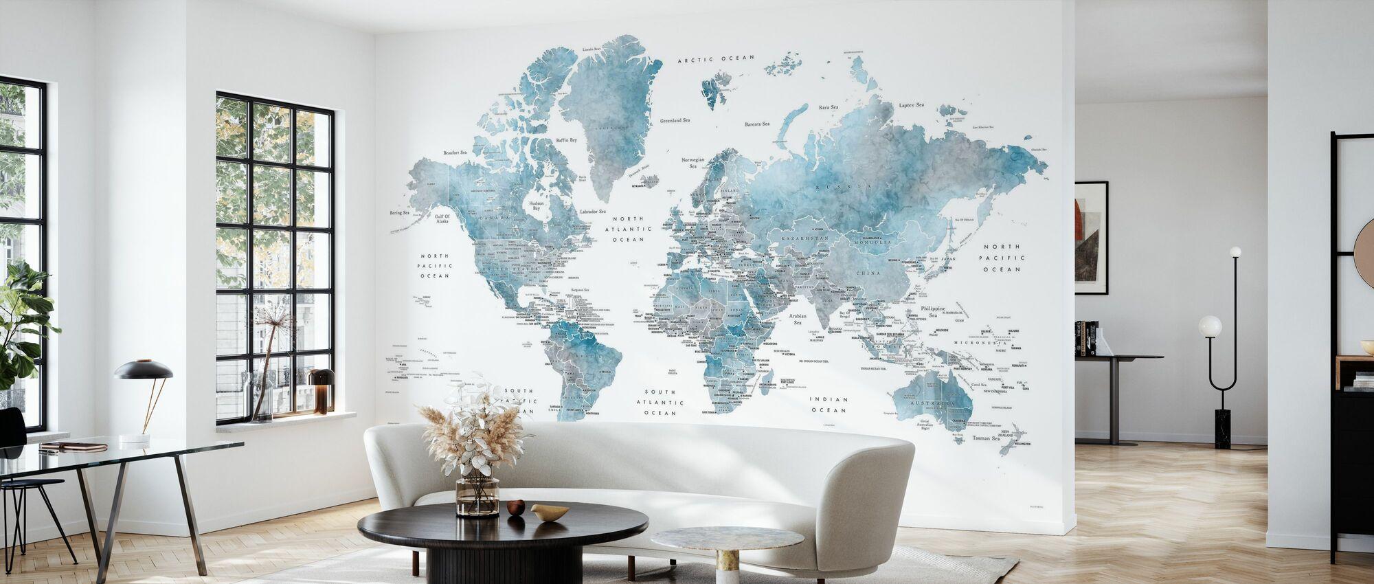 Weltkarte mit Hauptstädten - Tapete - Wohnzimmer