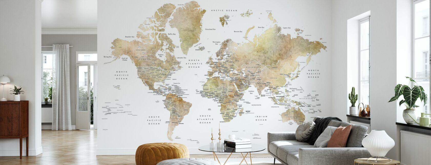Wereldkaart met hoofdsteden - Behang - Woonkamer