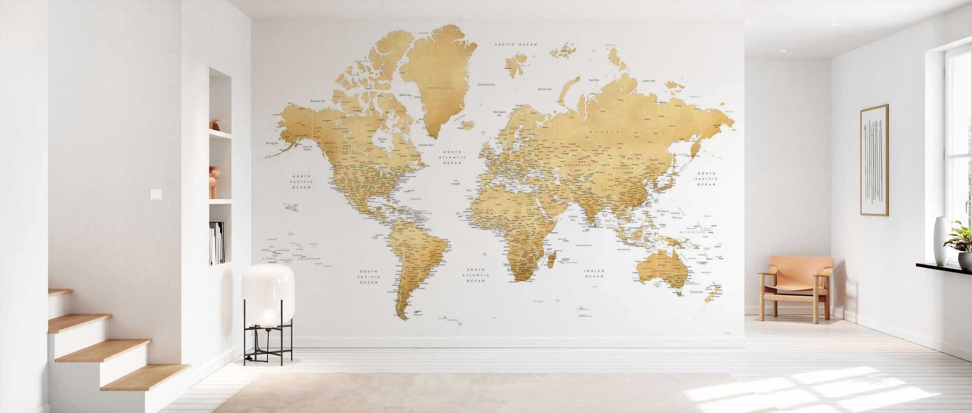 World Map with Cities - Wallpaper - Hallway