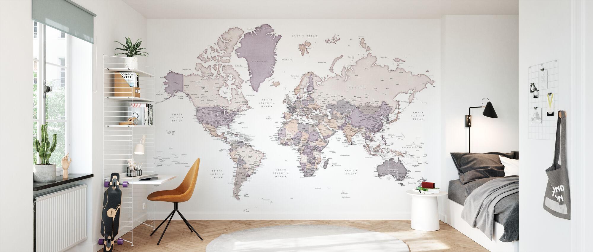 Weltkarte mit Städten - Tapete - Kinderzimmer