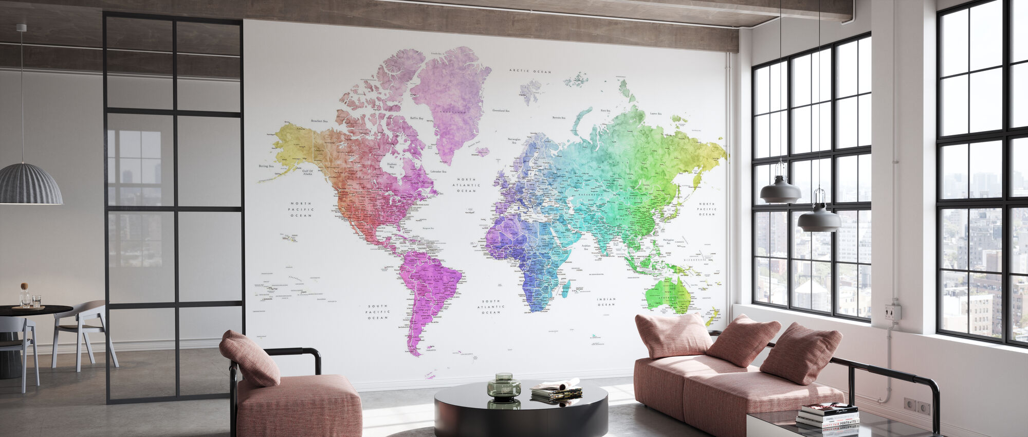 World Map with Cities - Wallpaper - Office