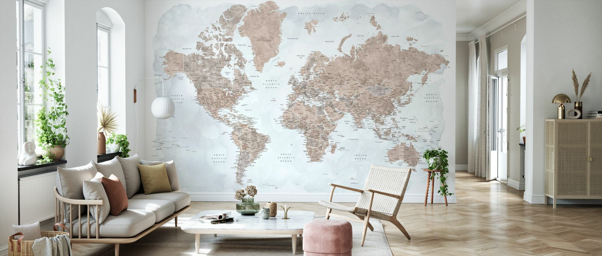 World Map with Cities - Wallpaper - Living Room