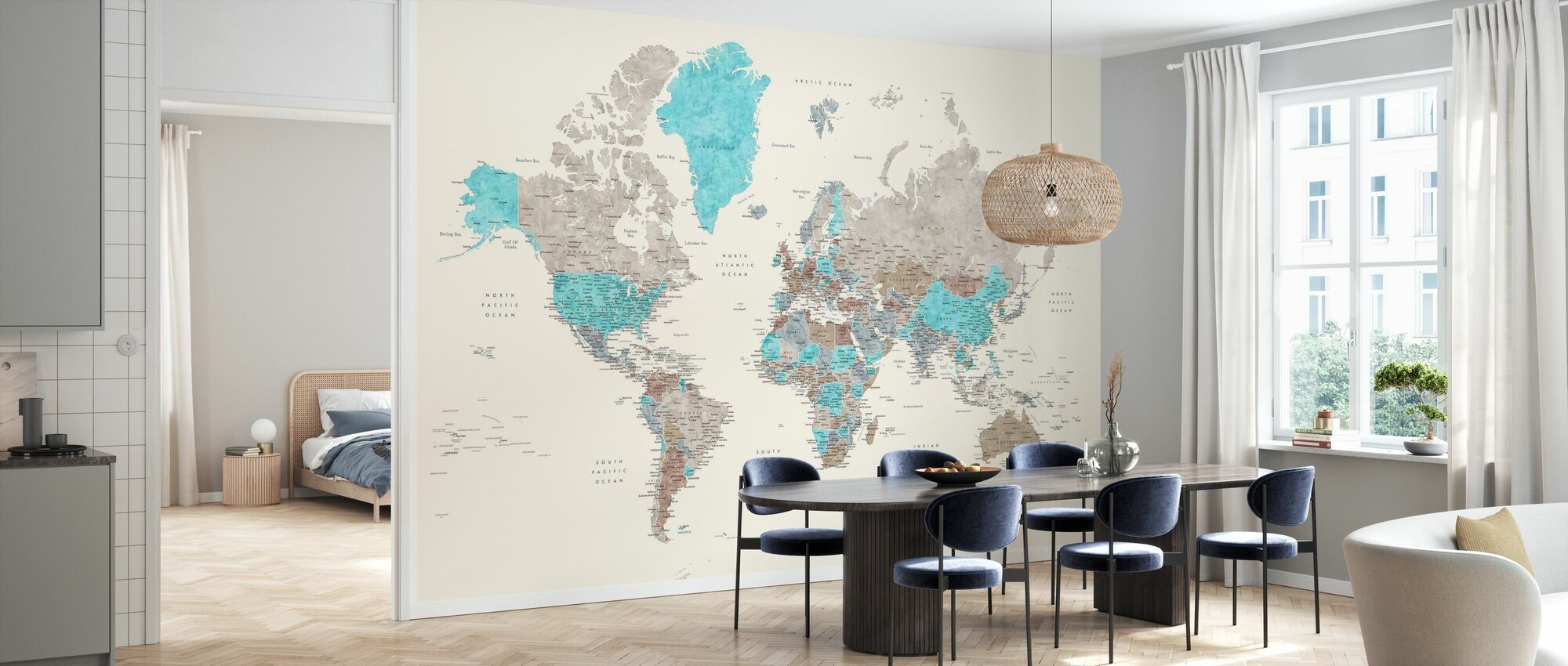 World Map with Cities - Wallpaper - Kitchen