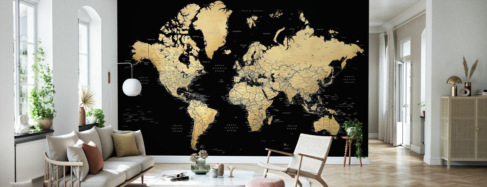 Wereldkaart met steden - Behang - Woonkamer