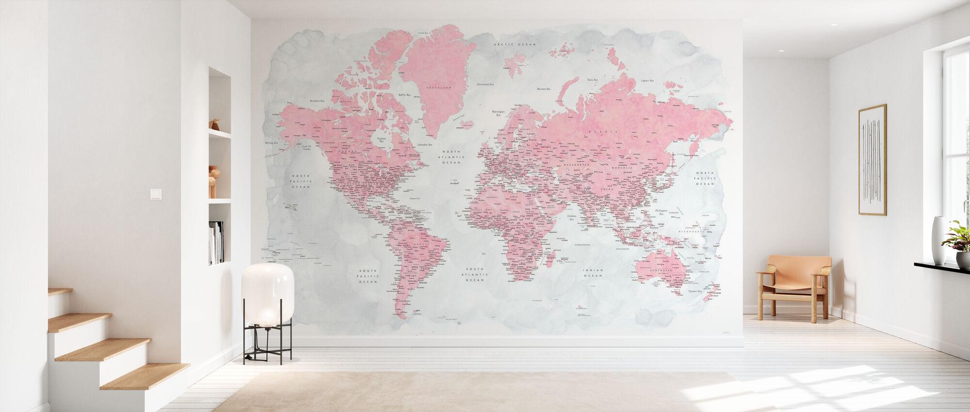 Carte du monde avec les villes - Papier peint - Entrée